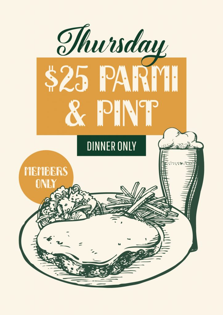 $25 Parmi & Pint Special - Union Place Hotel