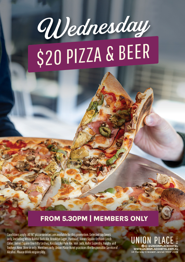 Wednesday Pizza & Drink Special - Union Place Hotel