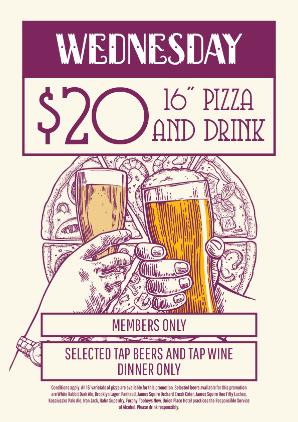 Wednesday Beer & Pizza Special - Union Place Hotel