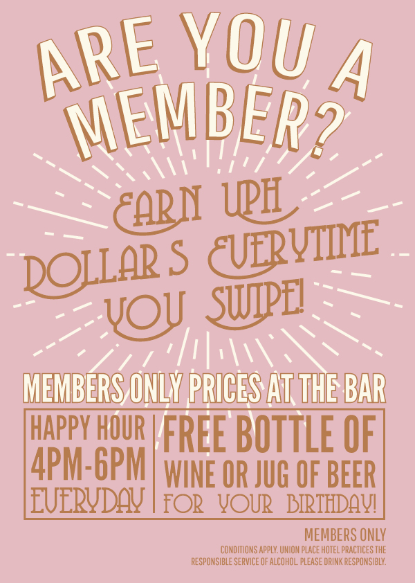 Members Only Prices at The Bar | Union Place Hotel